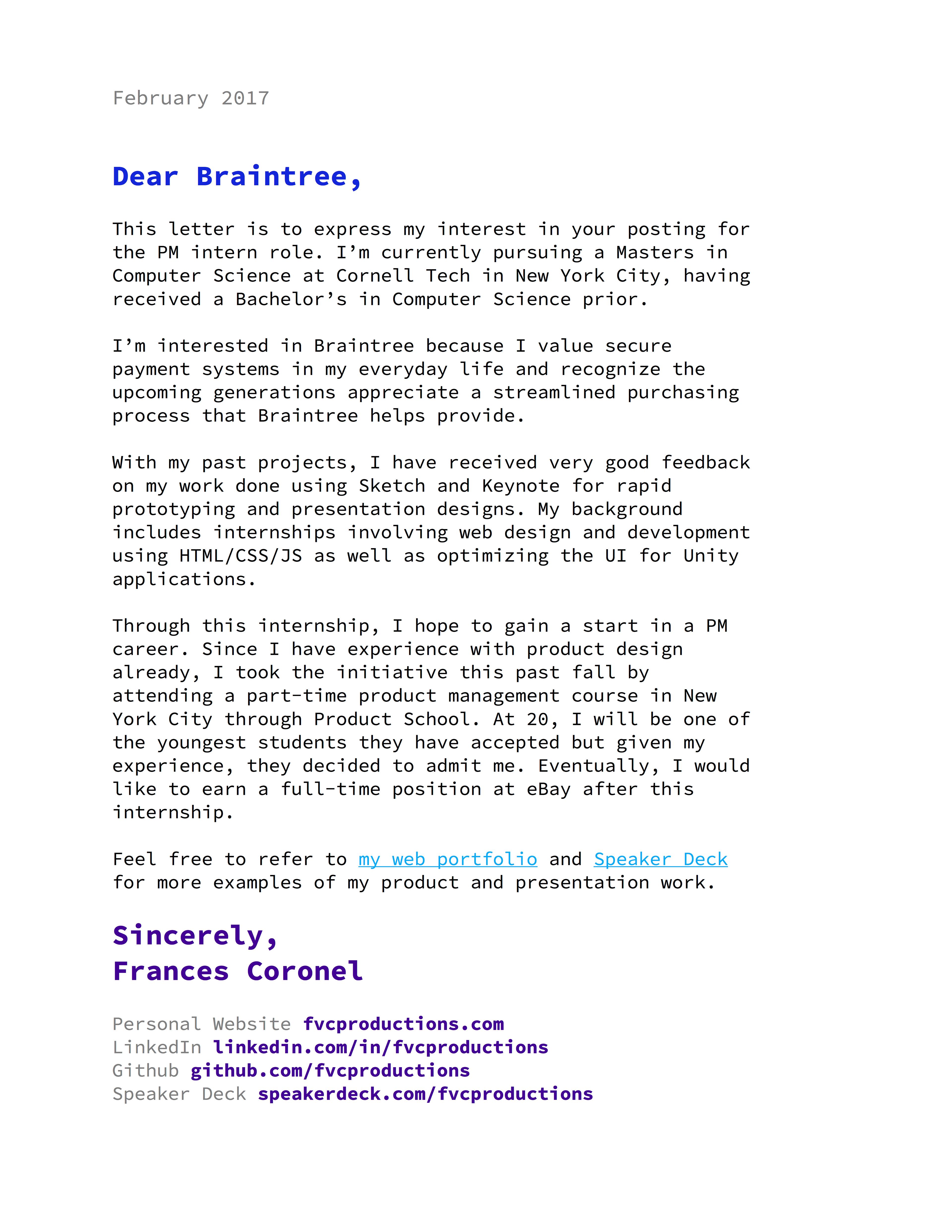 Random Cover Letter Templates Frances Coronel